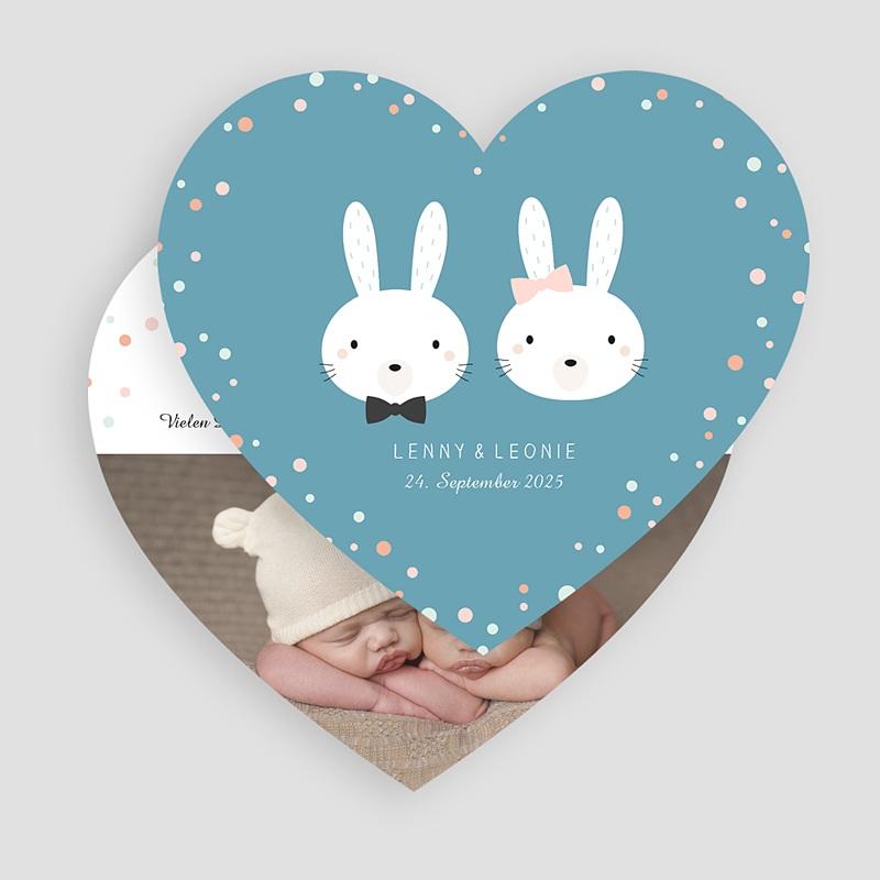 Geburtskarten mit Kaninchen Doppeltes Glück gratuit