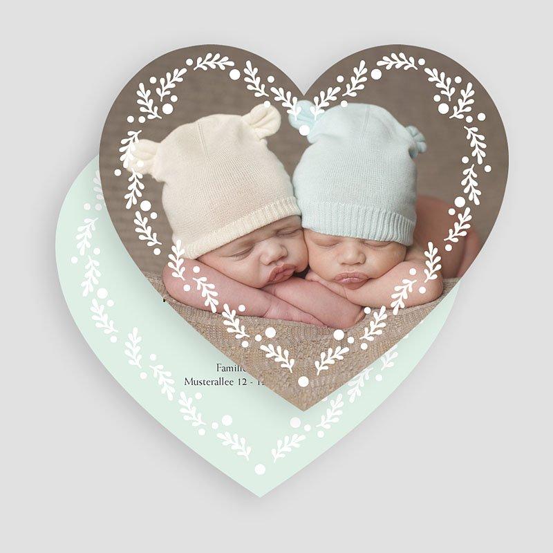 Geburtskarten für Zwillinge Doppeltes Herz gratuit