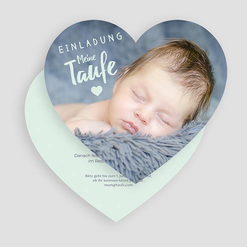 Einladungskarten Taufe für Jungen Herzchentaufe gratuit