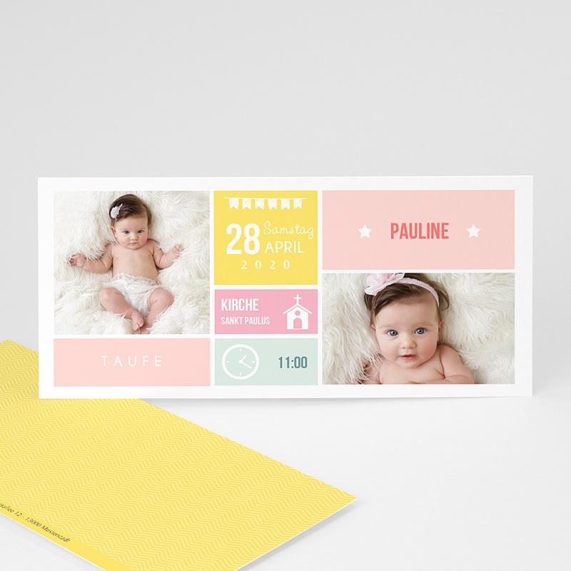Einladungskarten Taufe für Mädchen Kästchen