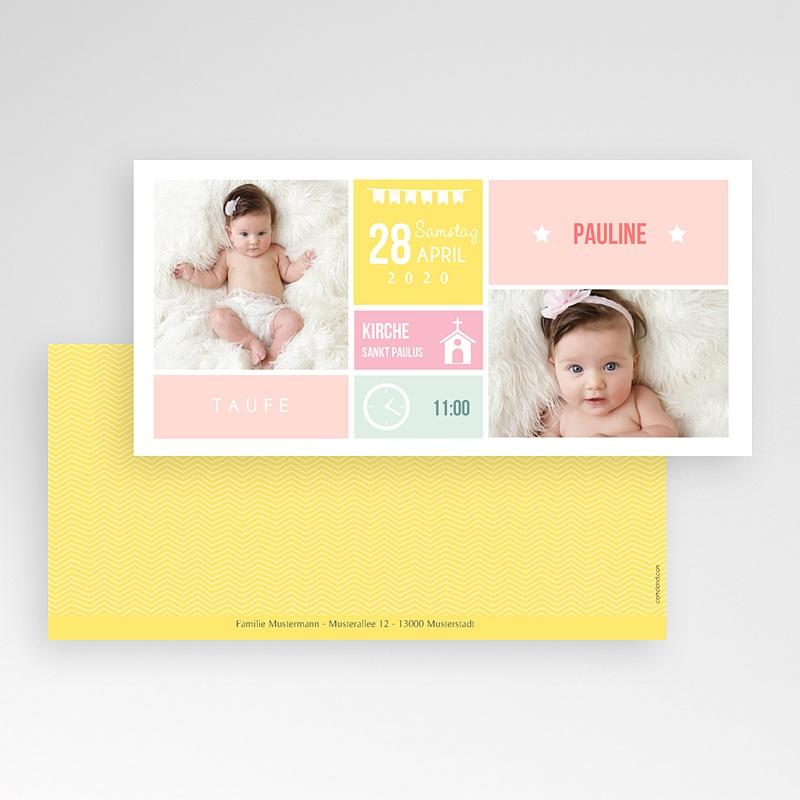 Einladungskarten Taufe für Mädchen Kästchen pas cher