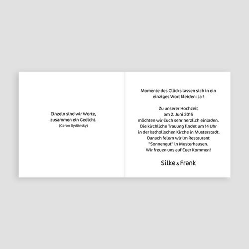 Originelle Hochzeitskarten  Bambuswald pas cher