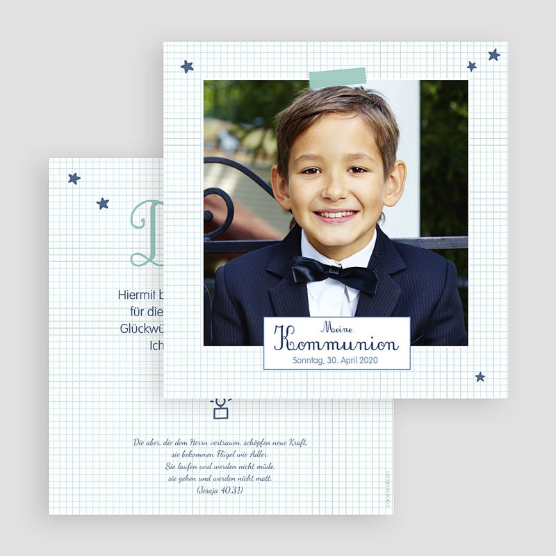 Dankeskarten Kommunion Jungen - Erstkommunion Schule 50069 thumb