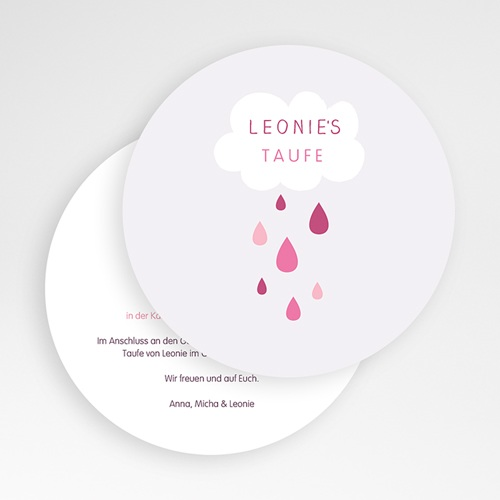 Einladungskarten Taufe für Mädchen Tropfen rosa gratuit
