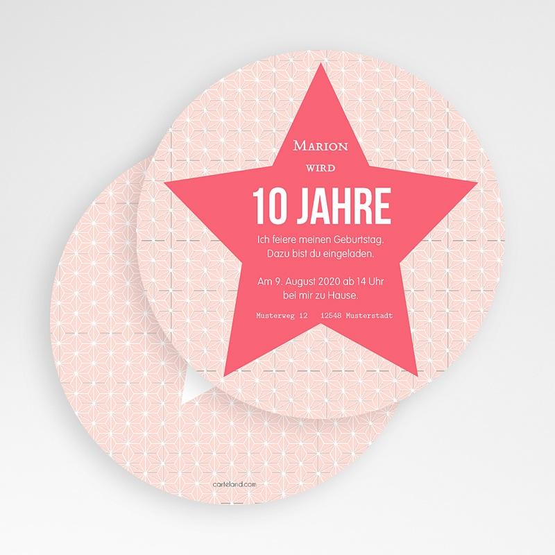 Einladungskarten Geburtstag Mädchen Stern rosa gratuit
