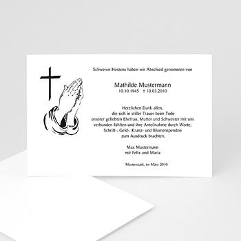 Trauer Danksagung christlich - Betende Hände - 1