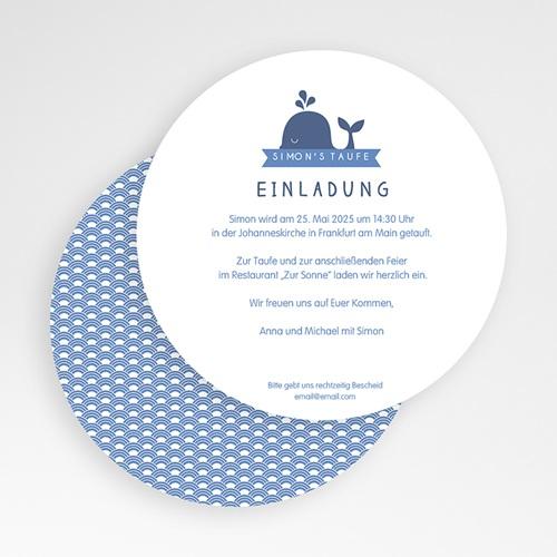 Einladungskarten Taufe für Jungen Kleiner blauer Wal gratuit