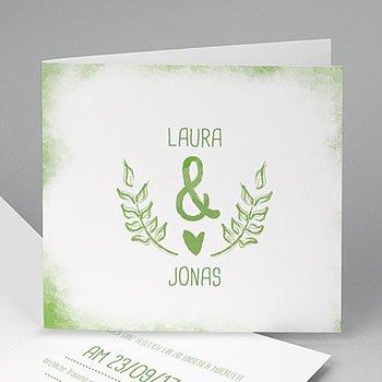Einladungskarten Hochzeit  - Grün & Weiss - 0