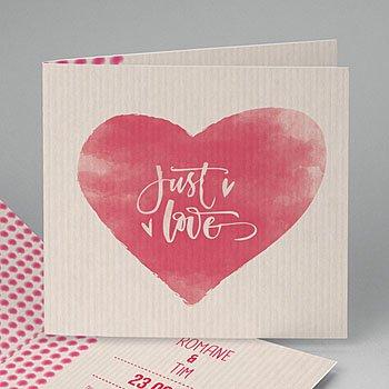 Hochzeitseinladungen modern - Herz Just love - 0