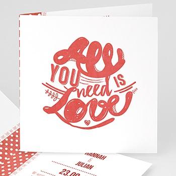 Einladungskarten Hochzeit  - Rot & Weiß - 0
