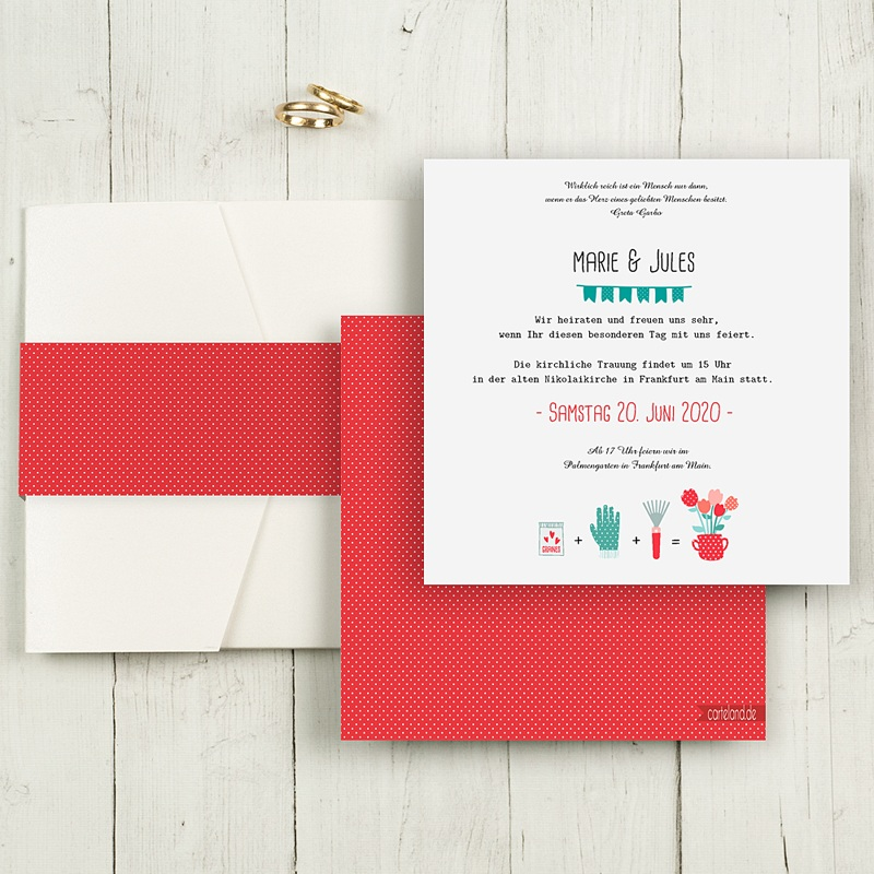 Hochzeitskarten Quadratisch Liebesbeet