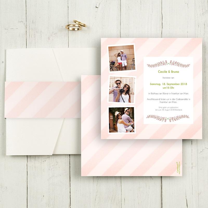 Hochzeitskarten Quadratisch - Streifendesign 50455 thumb