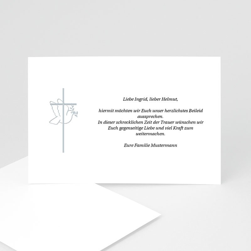 Trauer Danksagung christlich Friedenstaube