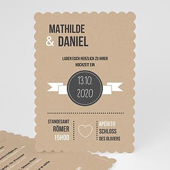 Hochzeitseinladungen modern - Kraftpapier Design - 0