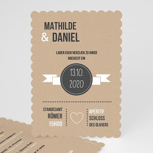 Hochzeitseinladungen modern - Kraftpapier 50507