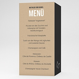 Menükarten Hochzeit Kraftpapier Design