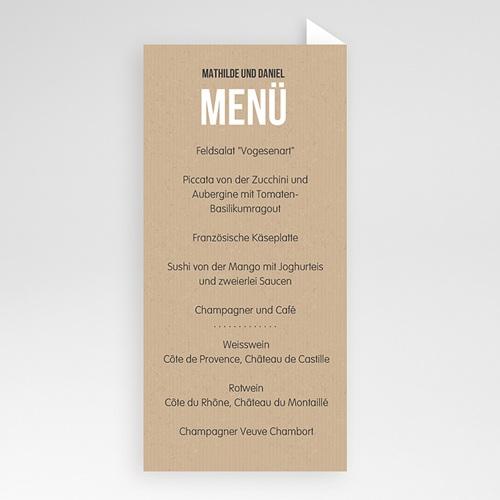 Menükarten Hochzeit Kraftpapier Design pas cher