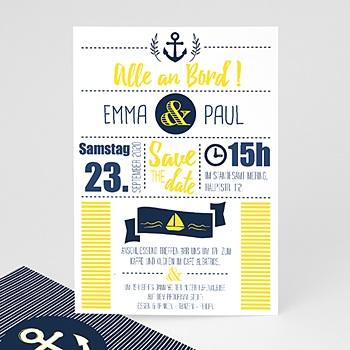 Einladungskarten Hochzeit  - Marineblau - 0