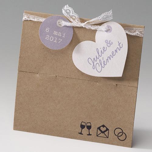 Hochzeitseinladungen traditionell - Kraftkarton 50666