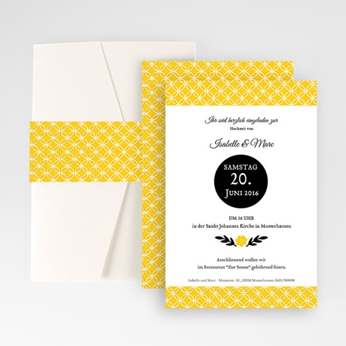 Hochzeitskarten Querformat - Gelbton 50863