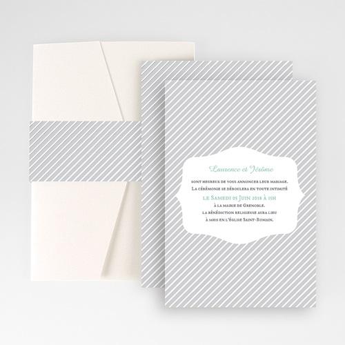 Hochzeitskarten Querformat - Schwarz-weiss gestreift 50887