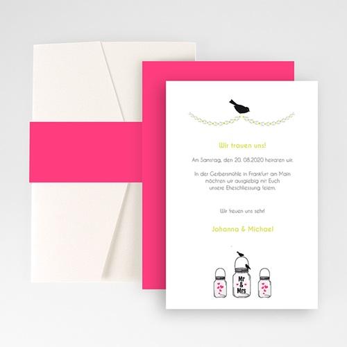 Hochzeitskarten Querformat - Rosa pink 50897