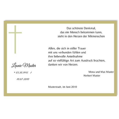 Trauer Danksagung christlich - Symbolisch 5091