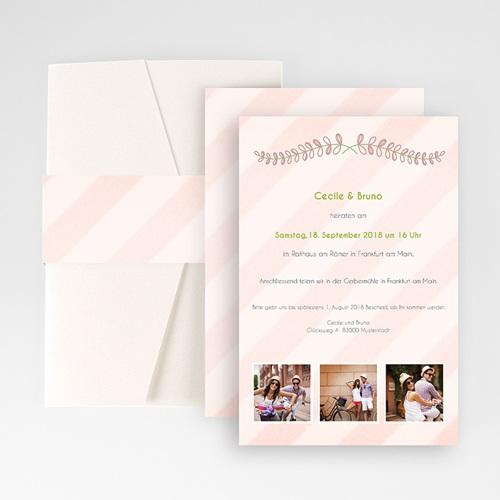 Hochzeitskarten Querformat - Streifendesign 50915