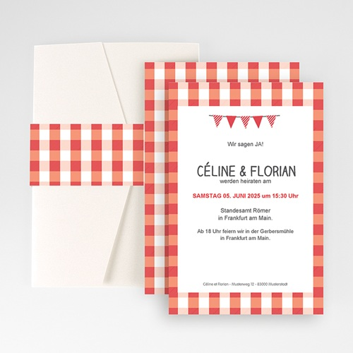 Hochzeitskarten Querformat - Ambiente Vichy 50927 test