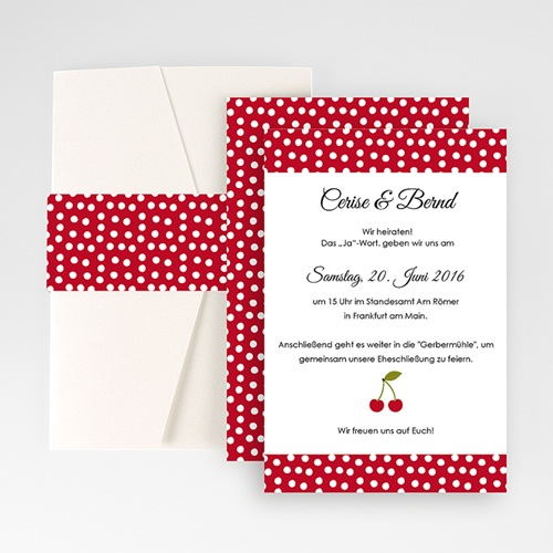 Hochzeitskarten Querformat - Rote Kirschen 50949