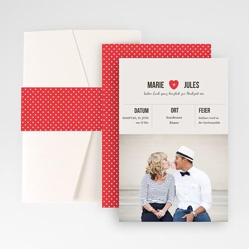 Hochzeitskarten Querformat - Vintage Rot 50973