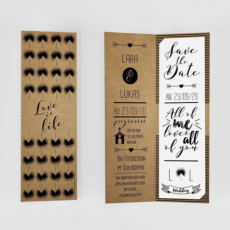 Hochzeitseinladungen Love is Life gratuit