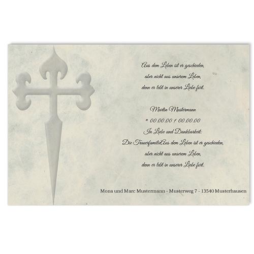 Trauer Danksagung christlich - Grosses Kreuz 5123