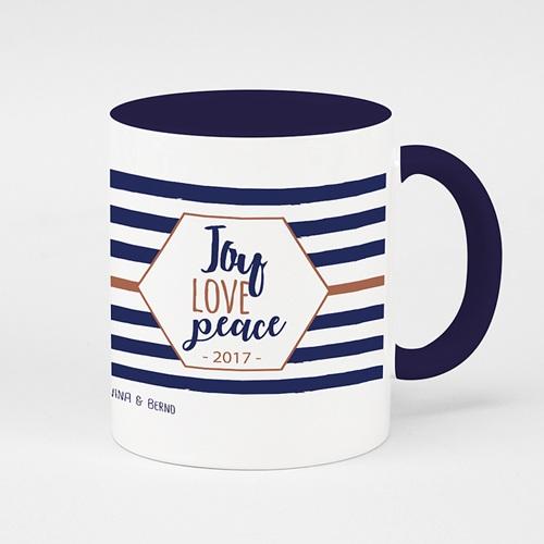 Zweifarbtasse - Joy Love Peace 51756