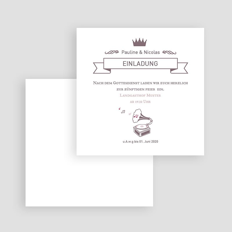 Einladungskarten Hochzeit Zarte Musik gratuit