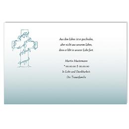 Karten Décès Chrétien Efeu am Kreuz