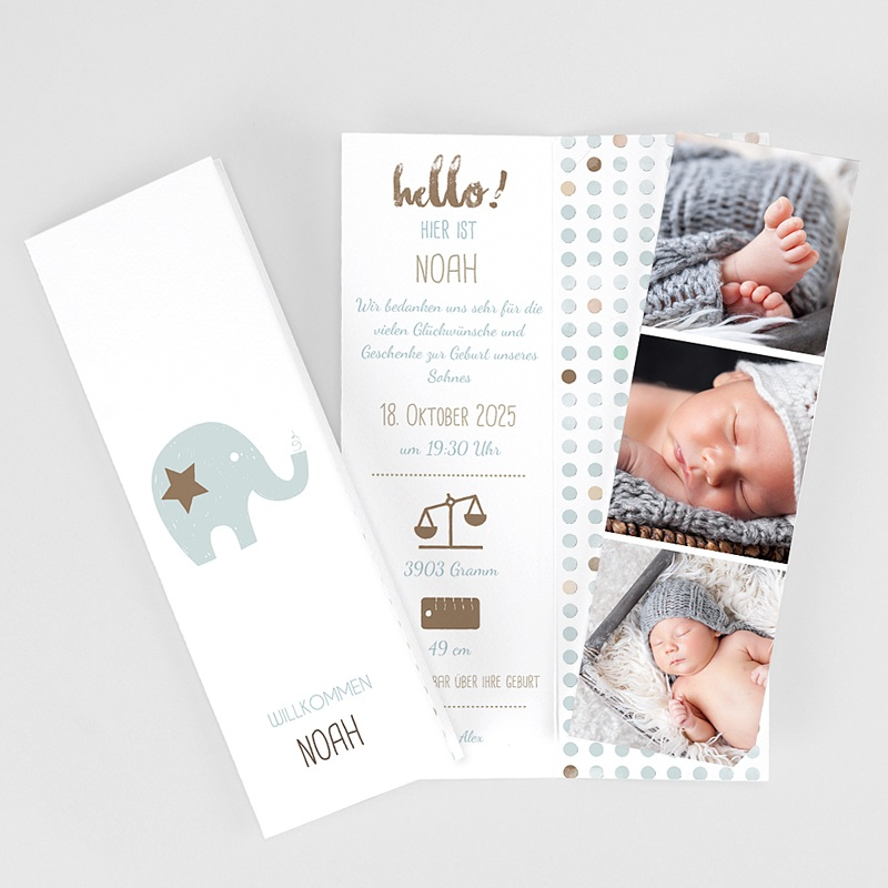 Geburtskarten mit Elefant Elefant Duo