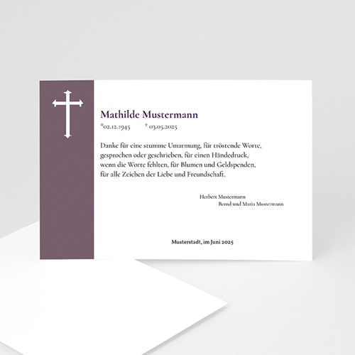 Christlich Dankeskarten Trauer In Veilchen blau