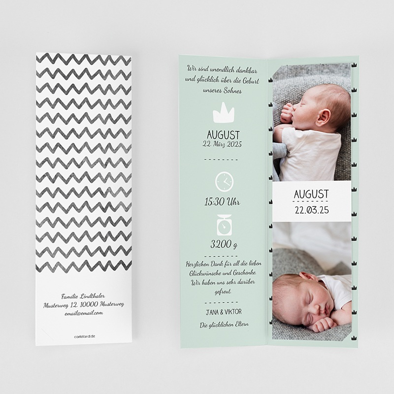 Geburtskarten für Jungen Kleiner König gratuit