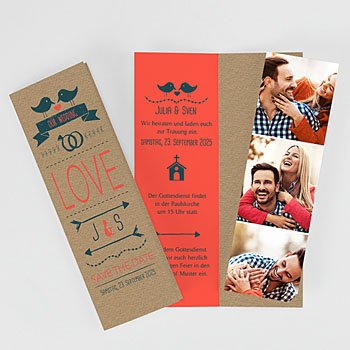 Hochzeitskarten mit Foto - Bird Love - 0