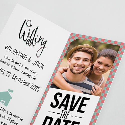 Hochzeitseinladungen modern - Retro Weddingday 52000 preview
