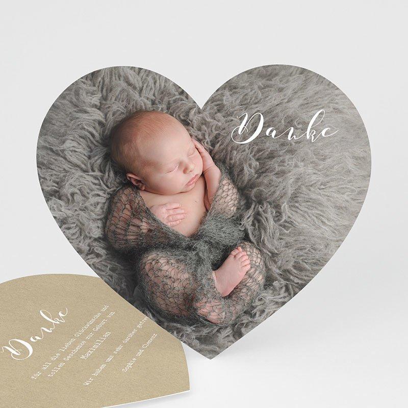 Dankeskarten Geburt Jungen Danke mit Herz