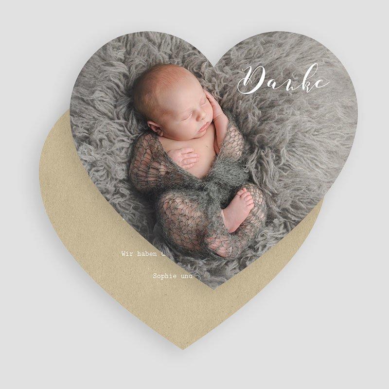 Dankeskarten Geburt Jungen Danke mit Herz gratuit