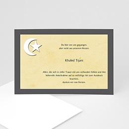 Karten Décès Musulman Mondsichel auf beigem Hintergrund