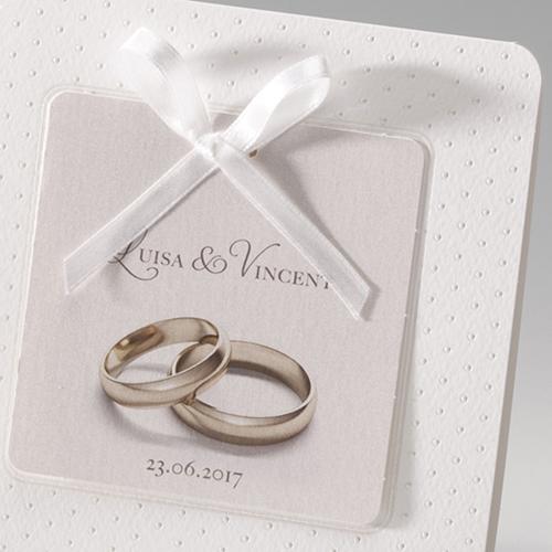 Hochzeitseinladungen traditionell - Ringe fürs Leben 52508