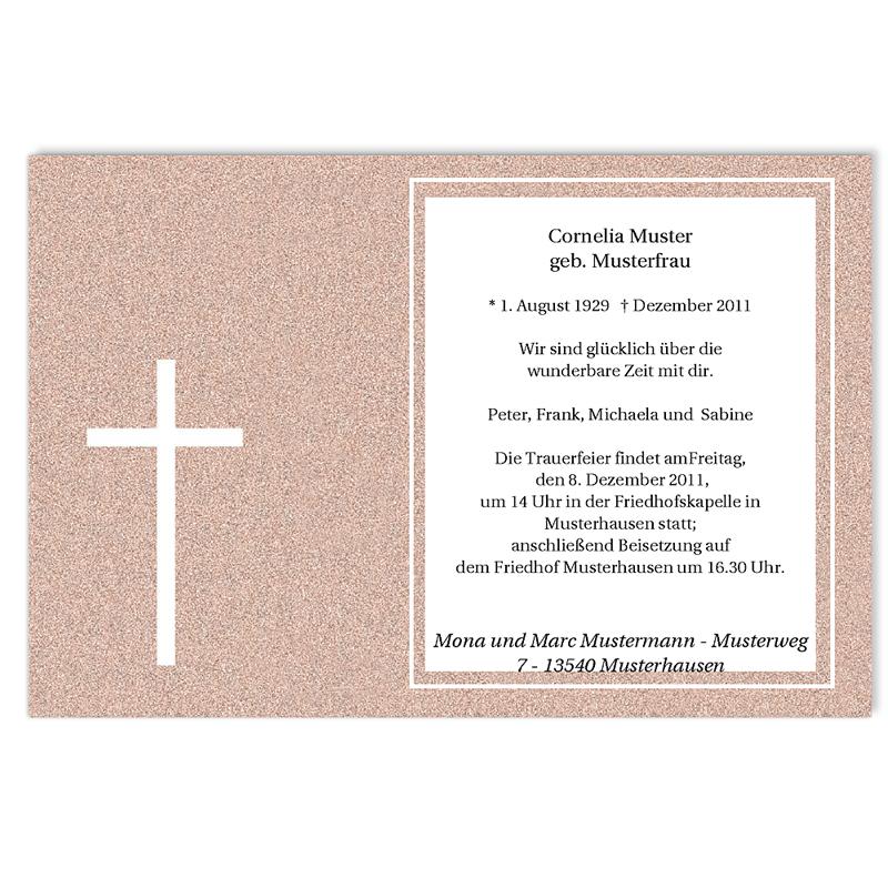 Trauer Danksagung christlich - Lateinisches Kreuz 5251 thumb