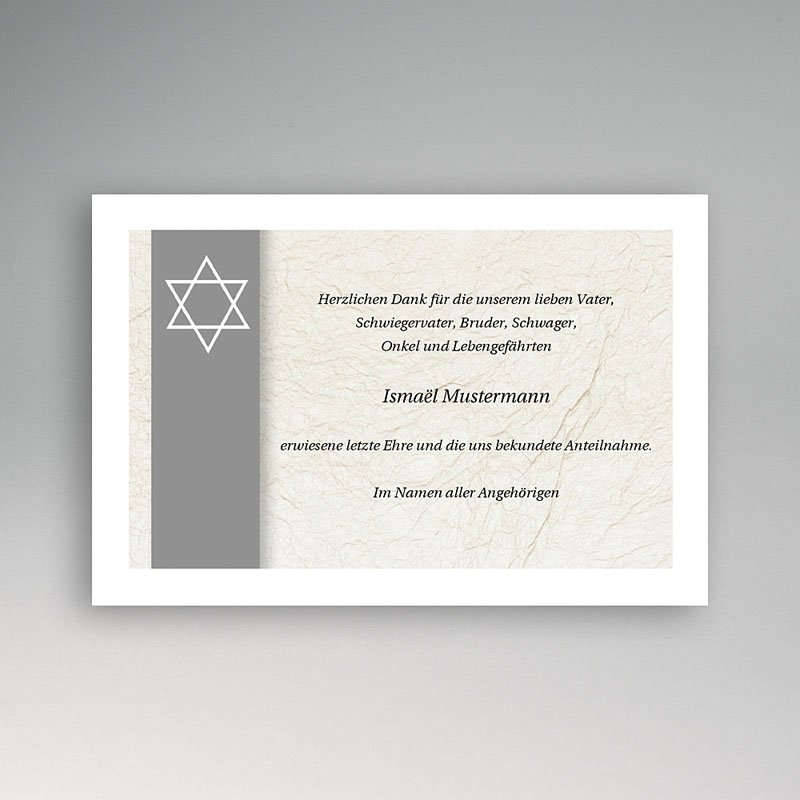 Israelitisch Dankeskarten Trauer David grau