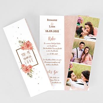 Hochzeitseinladungen modern - Rose Chic & Holz