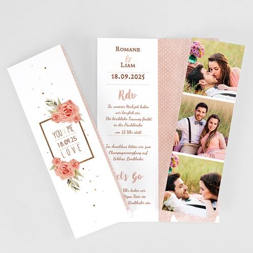 Hochzeitseinladungen modern - Rose Chic & Holz 52679