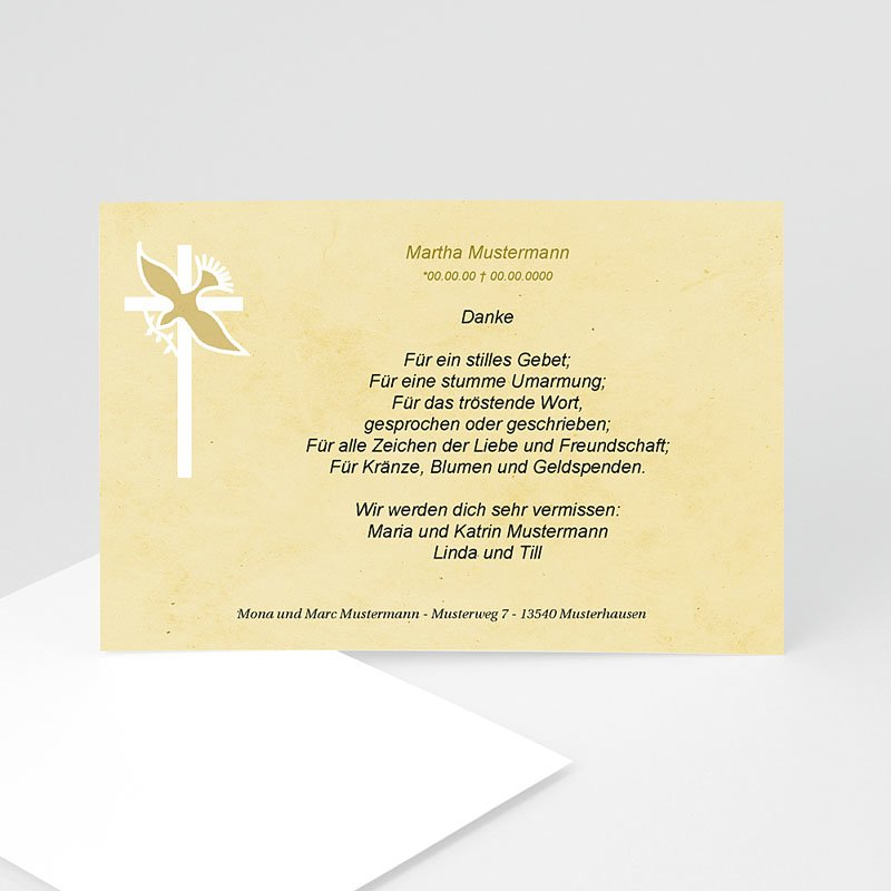 Christlich Dankeskarten Trauer Taube mit Olivenzweig